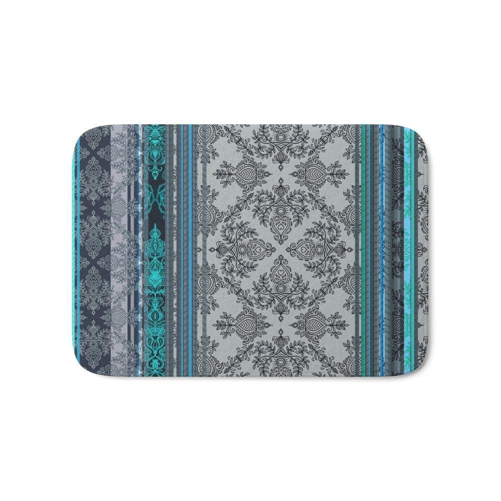 Teal Aqua & Grey Vintage Bohemian Wallpaper Stripes Bath Floor Home Welcome Mat Kitchen Indoor Outdoor Front Entrance Rug