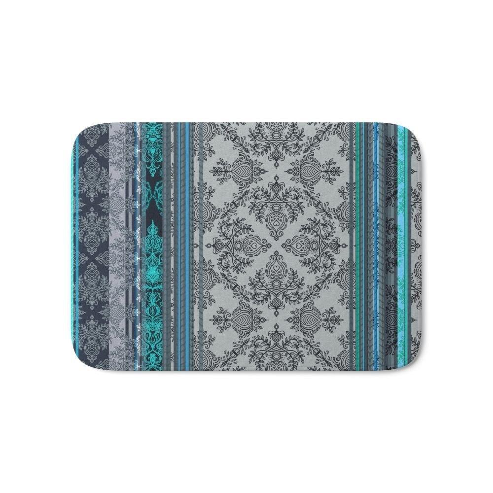 Teal Aqua & Grey Vintage papel tapiz bohemio rayas baño suelo hogar bienvenida Mat cocina Interior Exterior alfombra de entrada delantera