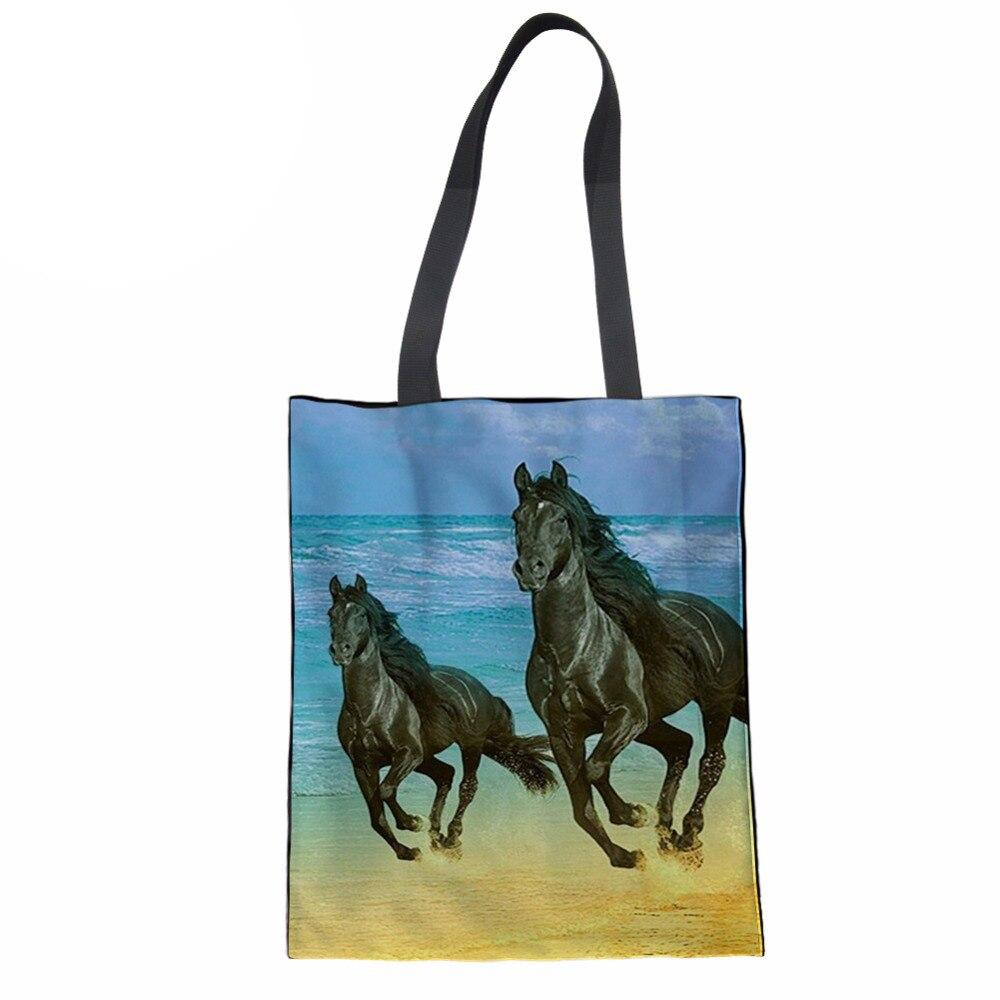 Женские сумки, повседневные сумки с короткими ручками, 3D Принт лошади, Женская пляжная сумка для девочек, сумка для книг, сумка для покупок, ...
