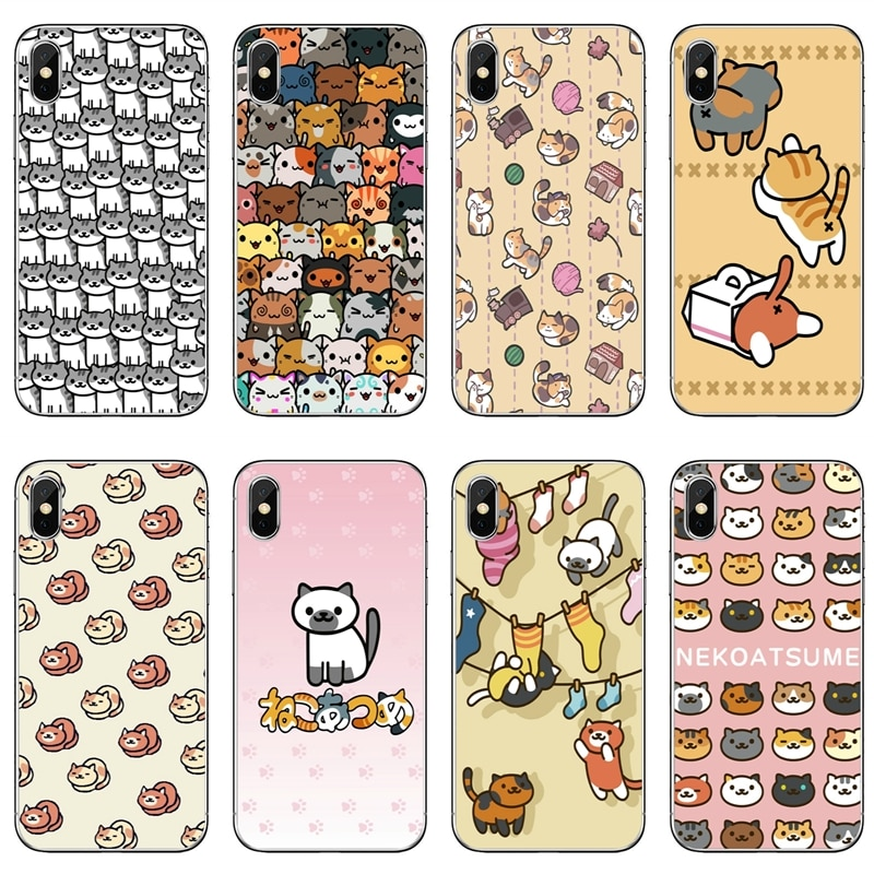 Neko Atsume gatito lindo gato para iPhone X XR XS Max 8 7 6s 6 plus SE 5S 5c 5 4S 4 iPod funda táctil suave funda de teléfono