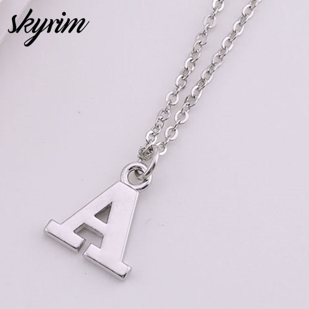 Skyrim Fashion Sliver A-Z Letters Necklaces Pendants Alphabet Sweater Link Chain Necklace for Men Women Jewelry Gift