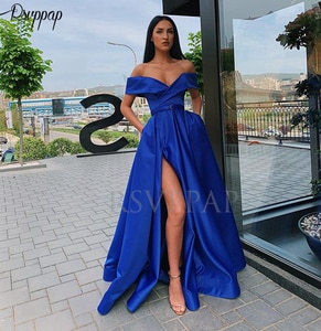 Simple Elegant Long Evening Dresses 2021 Cap Sleeve Sexy High Neck Cheap Royal Blue Satin Arabic Style Formal Evening Gowns