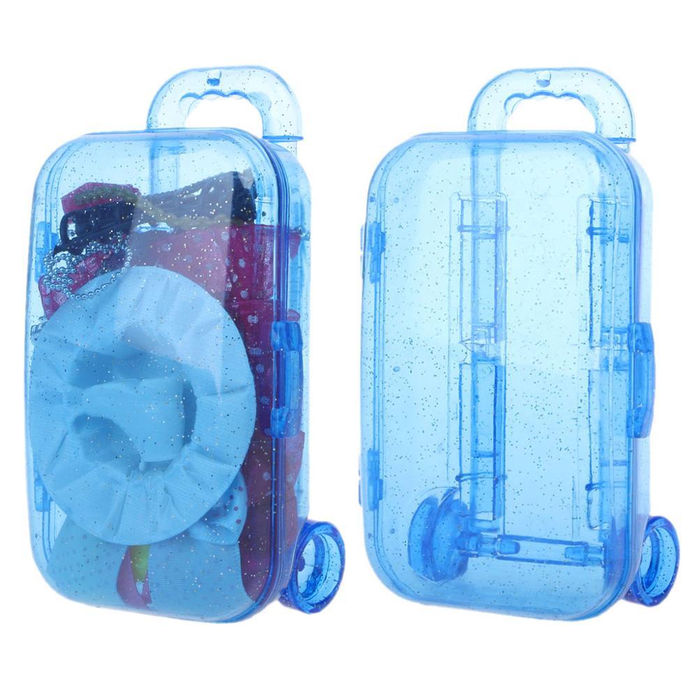 מיני תא מטען מזוודות מזוודה עבור ברבי אמריקאי הילדה בובת ילדי צעצוע בובות אביזרי סוכריות קופסא מתנה