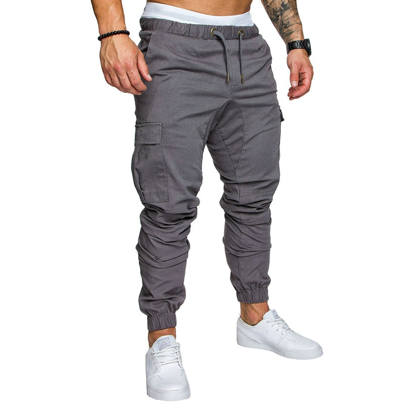 Autumn Men Pants Hip Hop Harem Joggers Pants 2020 New Male Trousers Mens Joggers Solid Multi-pocket