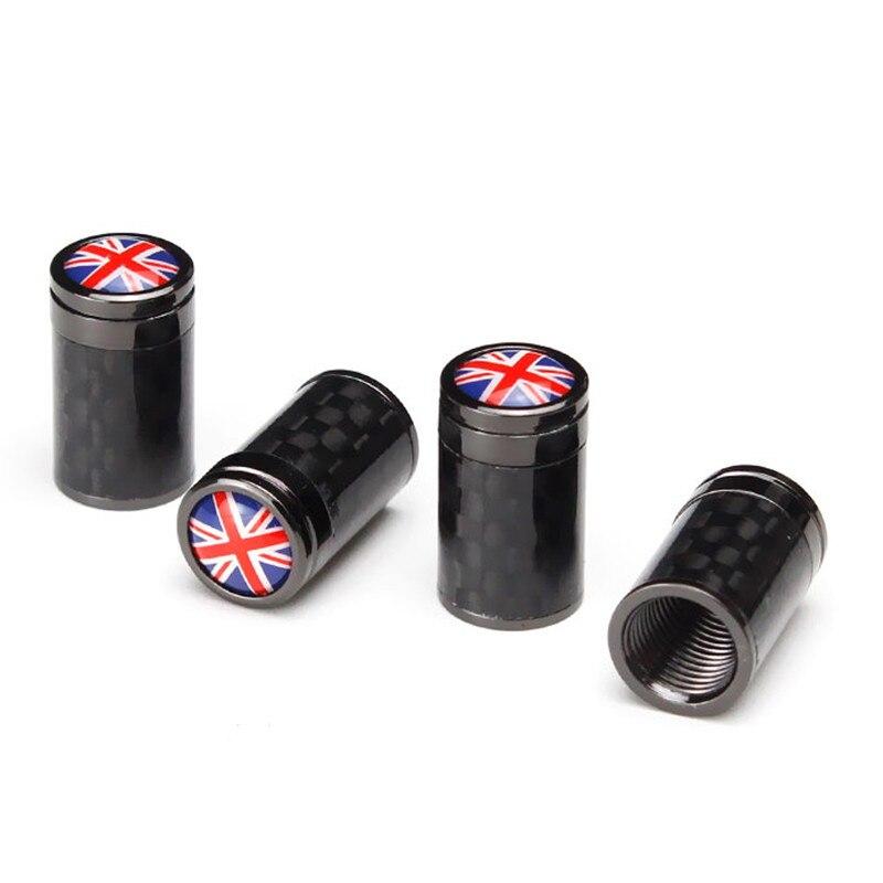 Para inglés colorido bandera emblema de fibra de carbono rueda tallos tapas para Kawasaki Abarth Dodge Suzuki Pontiac Citroen Auto Accesorios