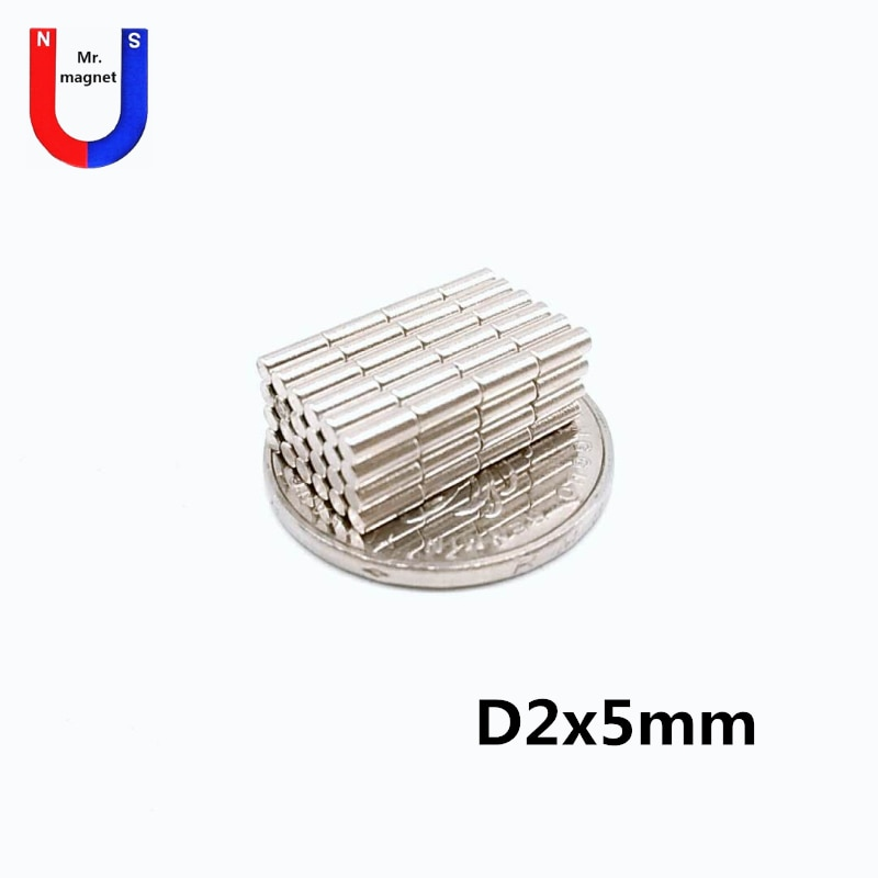 100/500/5000 pcs 2 2x5 ímã de barra redonda pequena mm x 5mm de neodímio forte ímã ofício 2*5 ímã da terra rara de NdFeB material magnético