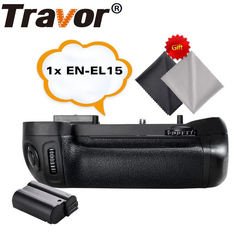 Soporte de agarre de batería Travor para NIKON D7100 D7200 reemplazo para cámara DSLR MB-D15 + 1 Uds EN-EL15 batería de iones de litio + 2 uds paño de lente
