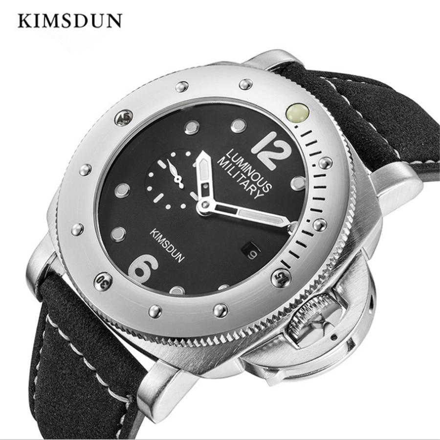 Marca de Luxo Luminosa à Prova Relógios de Couro Relógios de Pulso Kimsdun Relógios Homens Automático Relógio Mecânico d' Água Esportes Masculino Top