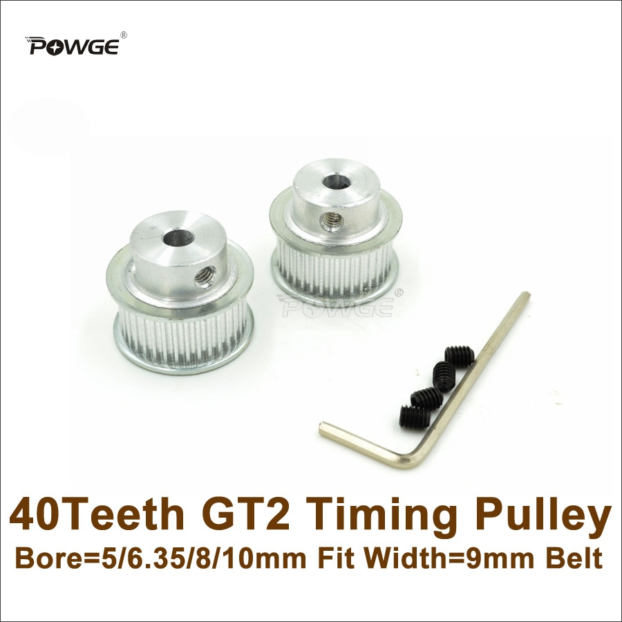POWGE 40 Teeth 2GT Timing Pulley Bore 5/6.35/8/10mm Fit Width 9mm 2GT Timing Belt 40T 40Teeth GT2 Pulley For 3D Printer
