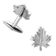 KC haute qualité cuivre argenté boutons de manchette feuilles hommes français chemise boutons de manchette de mariage fabricants en gros