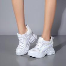 Baskets en cuir véritable femmes hauteur augmentant respirant maille à lacets compensées baskets plate-forme chaussures femme chaussures décontractées 10 CM