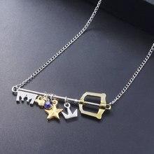 Royaume coeurs Sora clé Keyblade colliers pendentifs couronne étoile clé bleu cristal collier ras du cou pour femmes hommes porte-clés bijoux