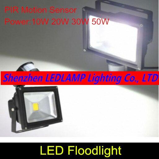 Sensor de movimiento PIR, reflector LED de 10 W, 20 W, 30 W, 50 W, para exteriores, para seguridad de jardín, foco blanco AC 85-265V