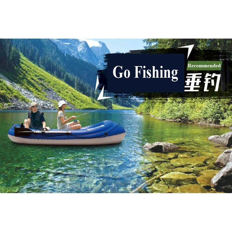 Barco de pesca WILDRIVER AQUA MARINA para 2 personas, bote inflable de PVC grueso, bote inflable para kayak, balsa, pala, bomba de pie, bolsa de montaje de motor