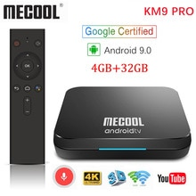 MECOOL KM9 Pro Google certifié Androidtv Android 9.0 TV Box 4GB 32GB Amlogic S905X2 KM3 ATV 4GB 64GB 4K double Wifi Smart TV box
