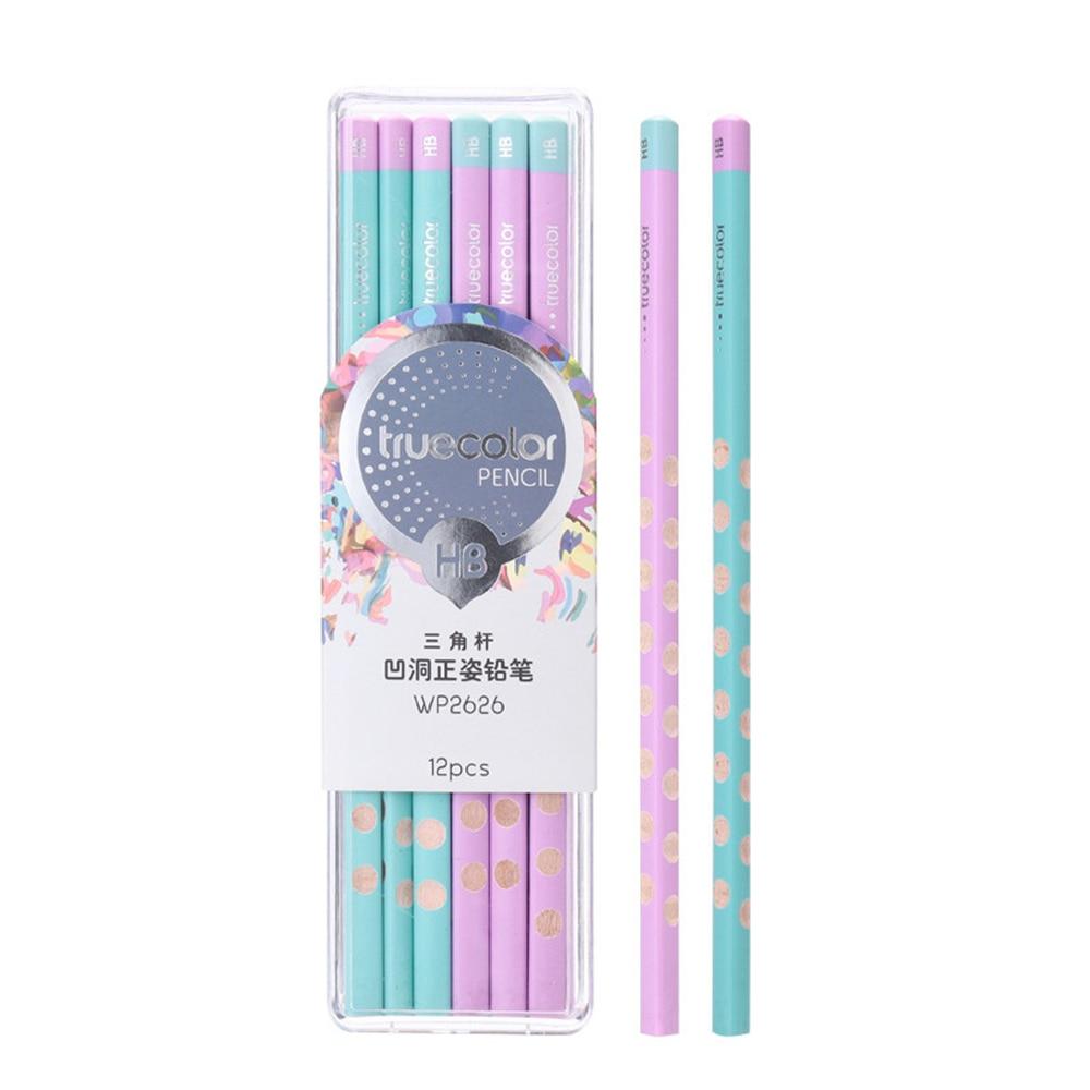 TrueColor 10pcs 2B/HB Wood Lead Pencil Triangle Standard Pencils for Students Correction Writing Posture School Supplies