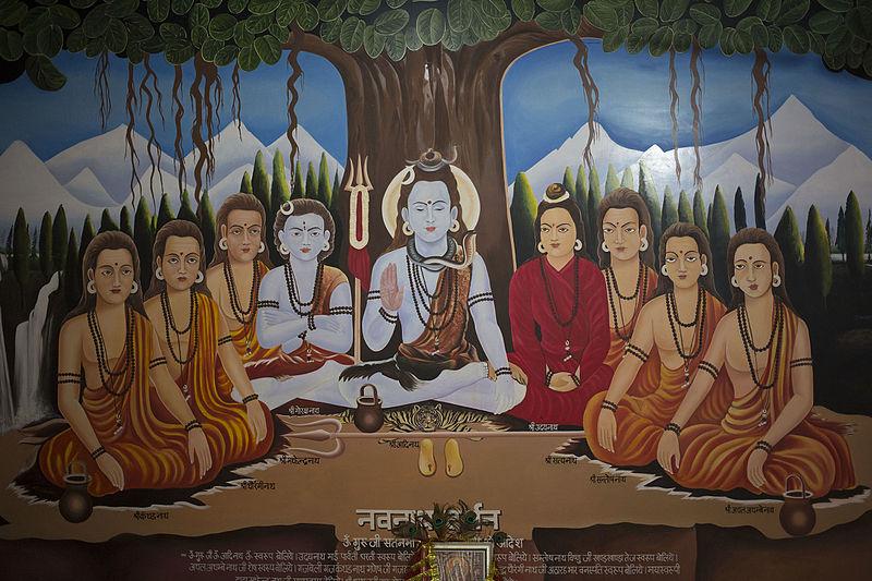 BOA ARTE # HindAuism nove India Nava Nathas na parede de um velho mandir em Nova Deli CÓPIA da arte da pintura sobre tela