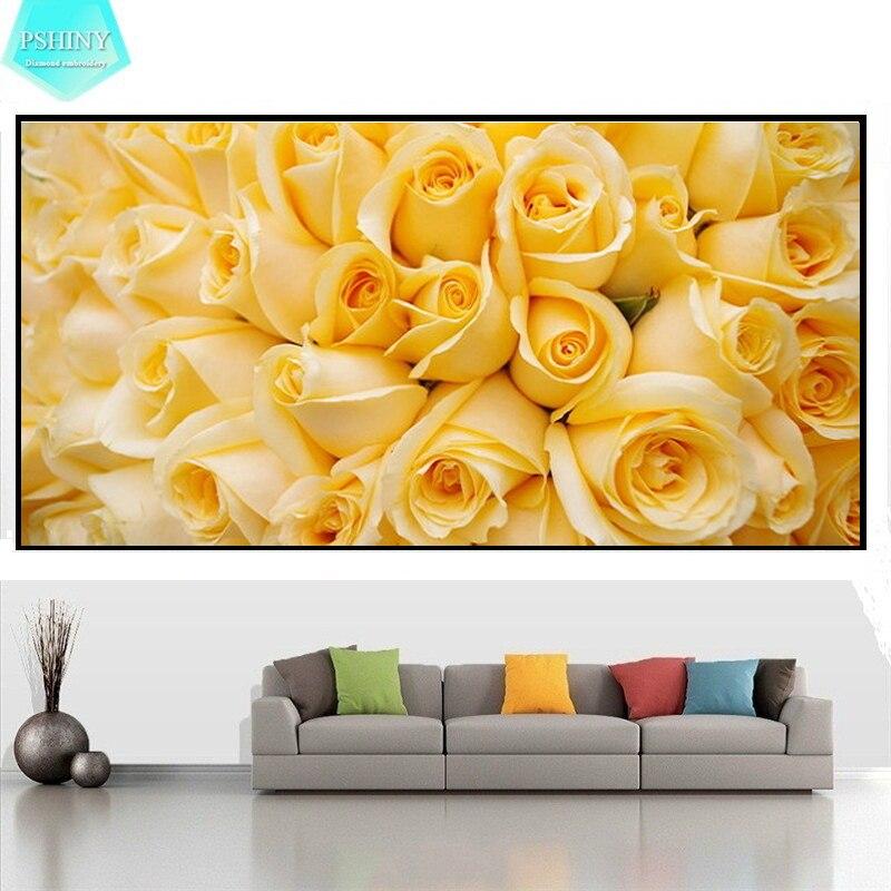 Алмазная живопись PSHINY 5D своими руками, картины с розами и цветами с полным дисплеем, квадратные Стразы, алмазная вышивка, распродажа, Новое п...