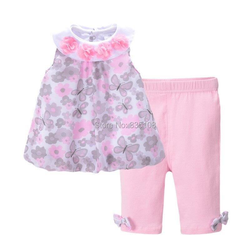 Princesa Do Bebê Roupas de Menina Floral Crianças Sem Mangas T-shirt & Pant Conjunto de Roupas para Meninas de Verão Chiffon Blusa Tops Set