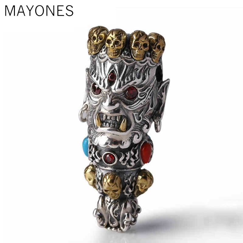 2019 Men Women Skull Pendant 100% Real 925 Sterling Silver Buddha God of Wealth Mosaic Color Stone Necklace Pendant jewelry