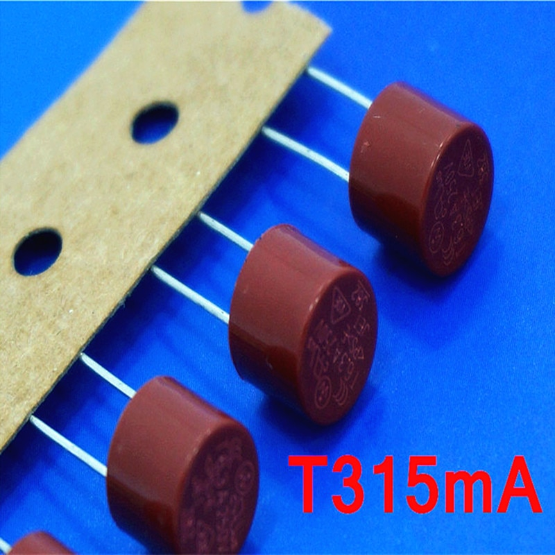 (10 unids/lote) T315mA 250V TR5 fusible subminiatura de soplado lento, UL VDE RoHS aprobado, 315mA, 0.315 Amp.