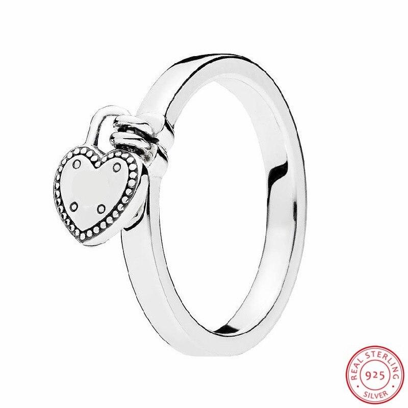 Regalo del Día de San Valentín 925 anillos de plata de ley 'Love Lock' para mujeres fina joya con forma de corazón candado colgante logotipo de la marca FLR149