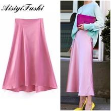 AISIYIFUSHI Spring New-Coming Pink Long Skirts High Street Half Length Elastic Women Skirts Smooth Satin High Quality Skirts