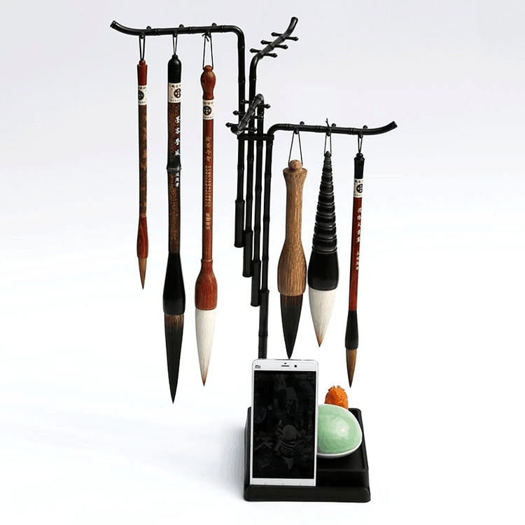 Fashion Design 24 Hanger Multifunctional brushes Holder Calligraphy Brush Holder Traditional Painting Writing Plastic Brush Rack