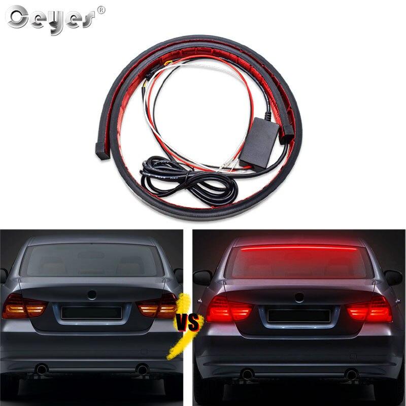 Ceyes, accesorios de foco estiloso para coche, 90cm, tira Led de montaje alto, freno trasero, señal de advertencia, luz diurna trasera para montaje