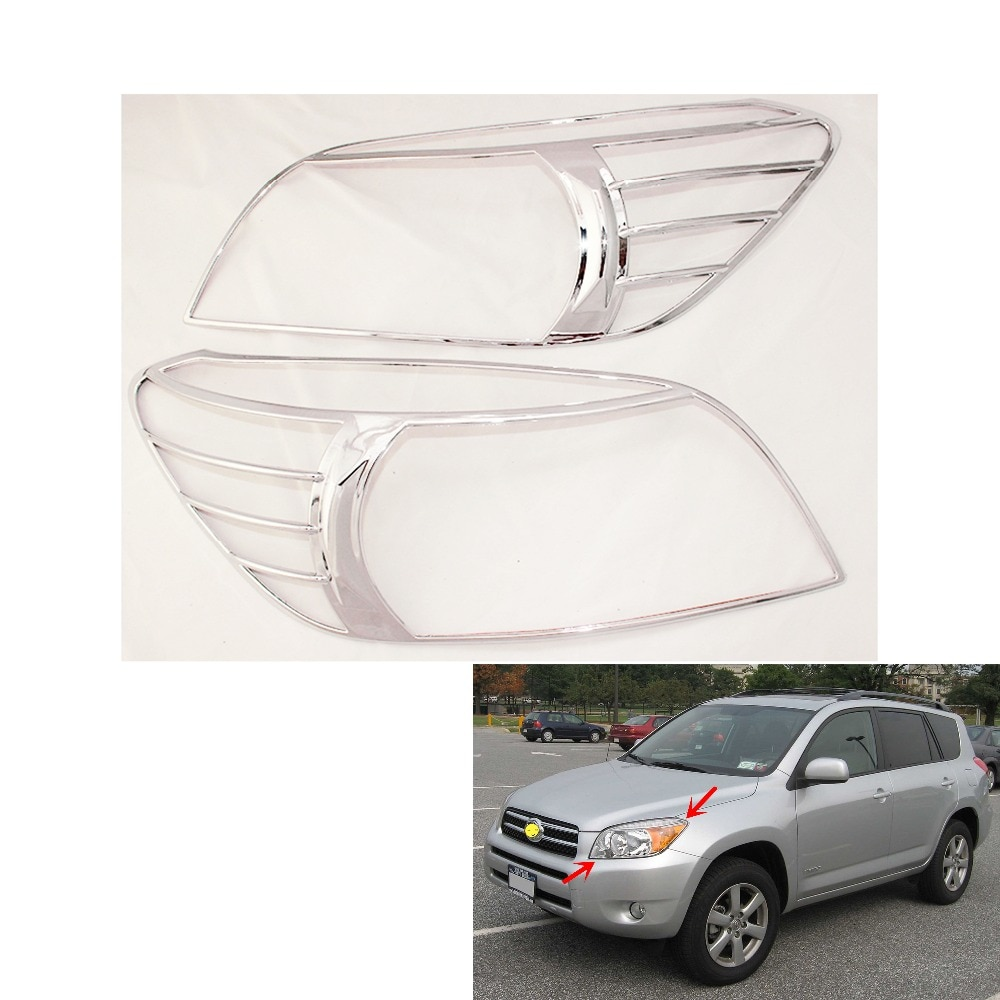 2PCS Chrome Headlight Cover Trim For Toyota XA20 RAV4 2006-2012 Head Lamps Shell Frame Decoration Car Accessories