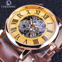forsining roman classic retro golden skeleton brown band mens mechanical wristwatch top brand luxury luminous hands clock male