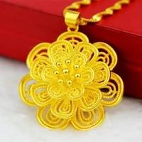 filigree pendant chain yellow gold filled flower pendant chain for women
