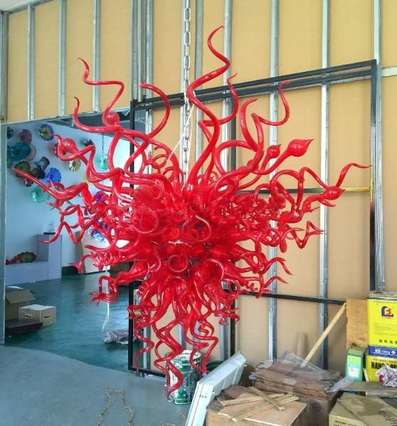 ثريات كريستال حمراء 100-240 فولت ، على الطراز الإيطالي ، إضاءة فنية زجاجية مورانو فاخرة للفيلا ، المنزل الجديد ، المطبخ ، الحمام