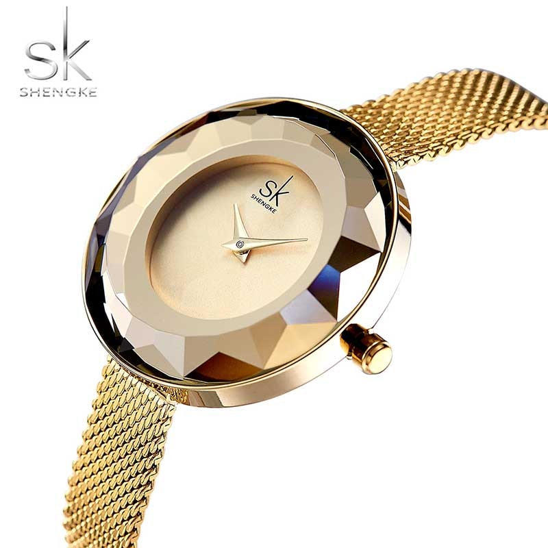 Reloj para mujer Shengke, moda de lujo, Prisma Fac, malla de acero dorado, relojes de cuarzo para mujer, reloj de Marca Top, reloj femenino