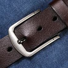 [Lfmb] cinto de couro masculino pulseira de couro genuíno pino fivela fantasia vintage jeans ceinture homme fantasia vintage cowboy jeans
