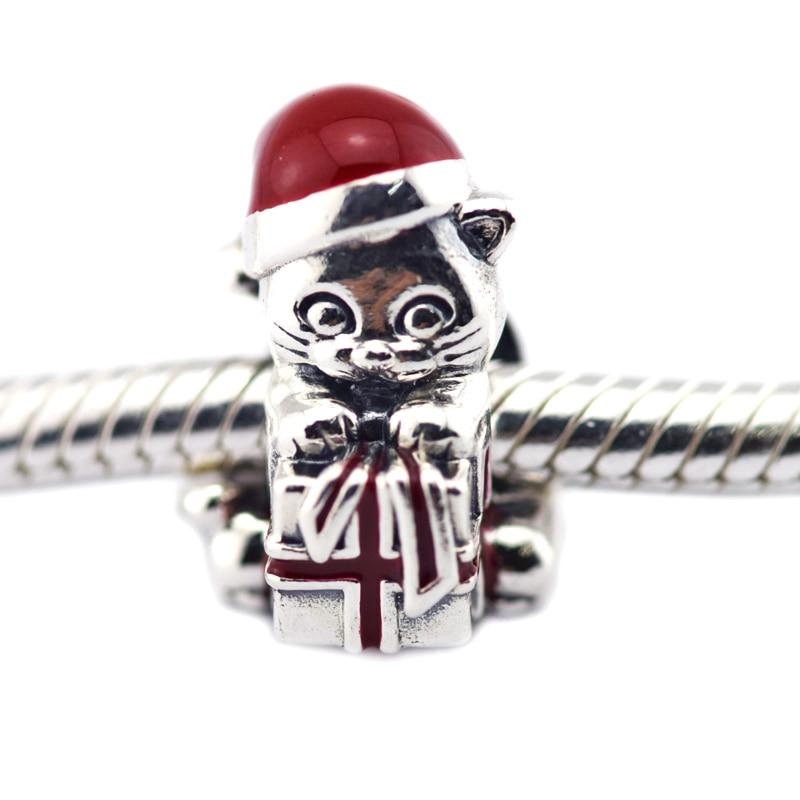 Cadeau rouge noël chaton fil perles breloque & Berry rouge émail 925 Sterling-argent-bijoux convient aux Bracelets à breloques occidentaux bricolage