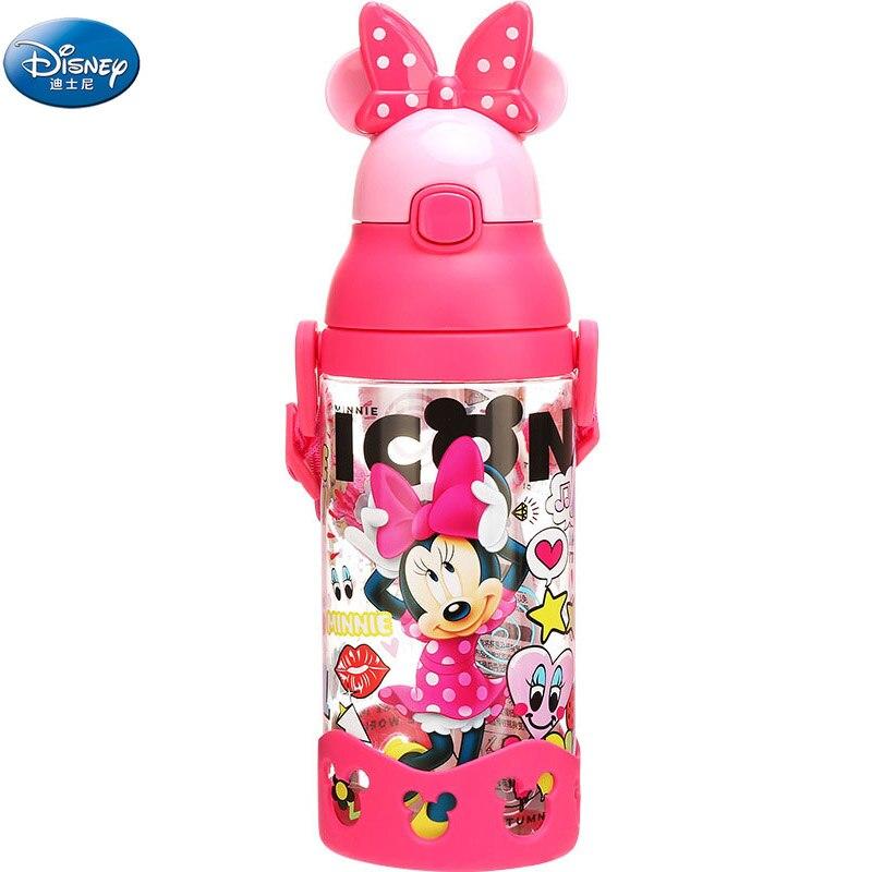 Tazas de dibujos animados de Disney para niñas, Mickey, Minnie Mouse, con bola de gravedad, Pajita para niños, niños, coches, Princesa Sofía, biberones deportivos de alimentación