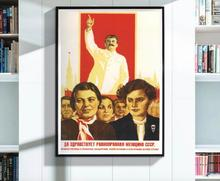 Leader Joseph Stalin Girl Education Propaganda Soviet Union USSR CCCP Vintage Retro Canvas Poster Wall Posters Home Decor Gift