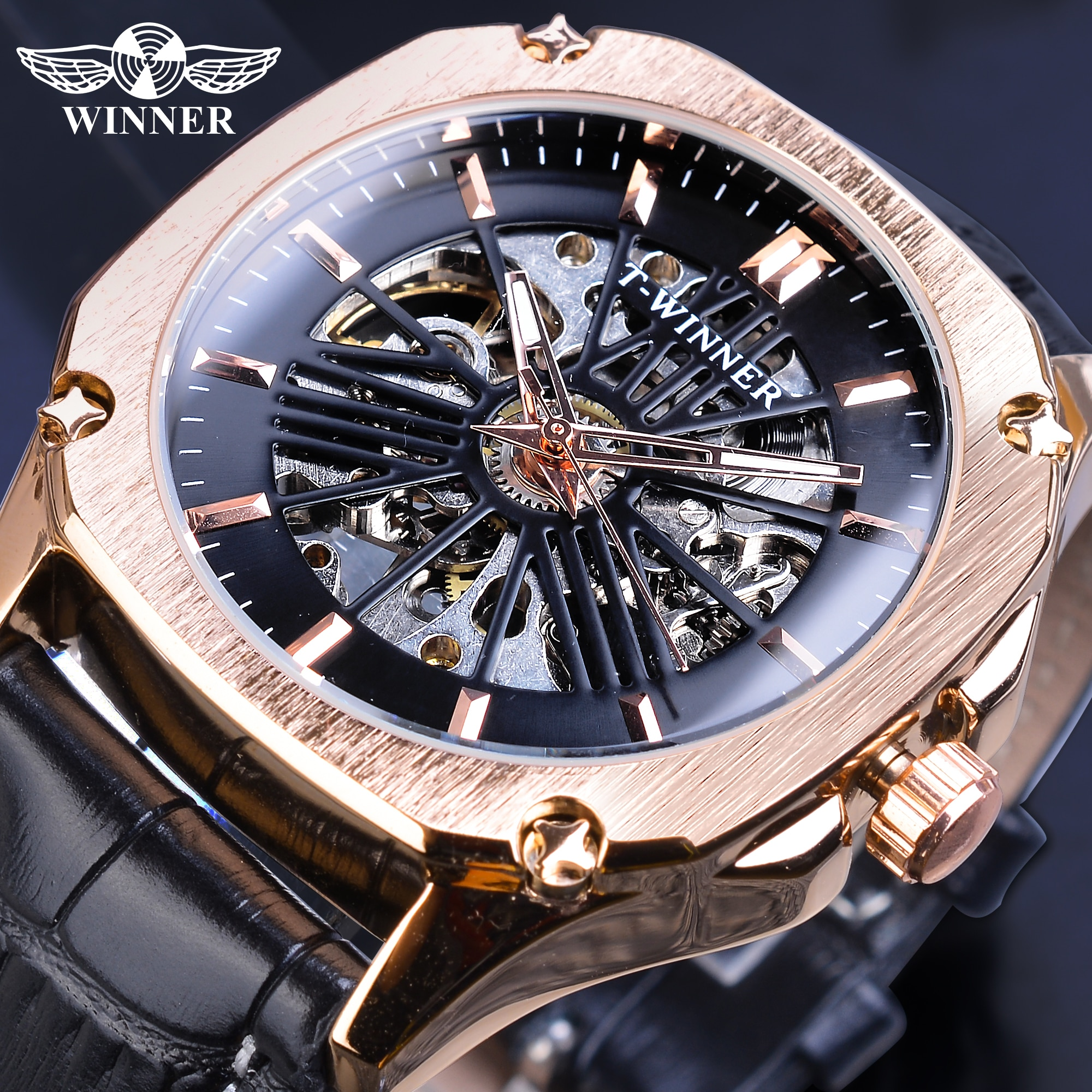 2018 t winner men watch automatic mechanical wristwatch top luxury brand golden metal strap male skeleton clock hot fashion gift Winner Top Brand Mens Automatic Watch Rose Golden Hollow Skeleton Leather Wrist Watches Male Business Mechanical Clock Dropship