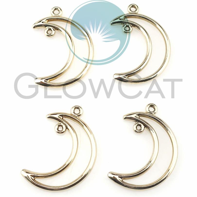 20 pièces KC or ton lune croissant entretoise perles cadre charmes 28x19mm 22377