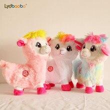 28cm musique de chant électrique mouton en peluche douce secouant alpaga jouets en peluche électronique tourner autour de mouton poupée enfant noël