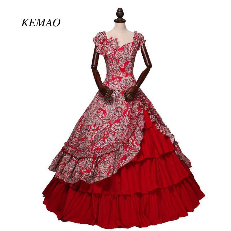 Vestidos estilo victoriano gótico de época medieval con patrón de flores rojas y hombros al aire