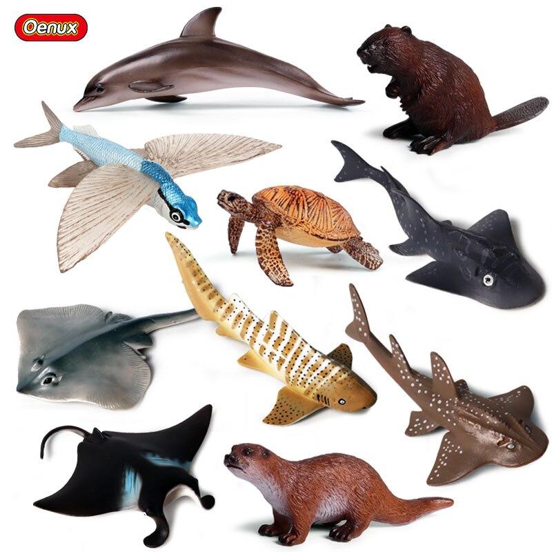 Oenux классический подводный мир Морская жизнь животные Дельфин Акула черепаха луч рыба океан животные модель фигурки игрушки Детский подарок