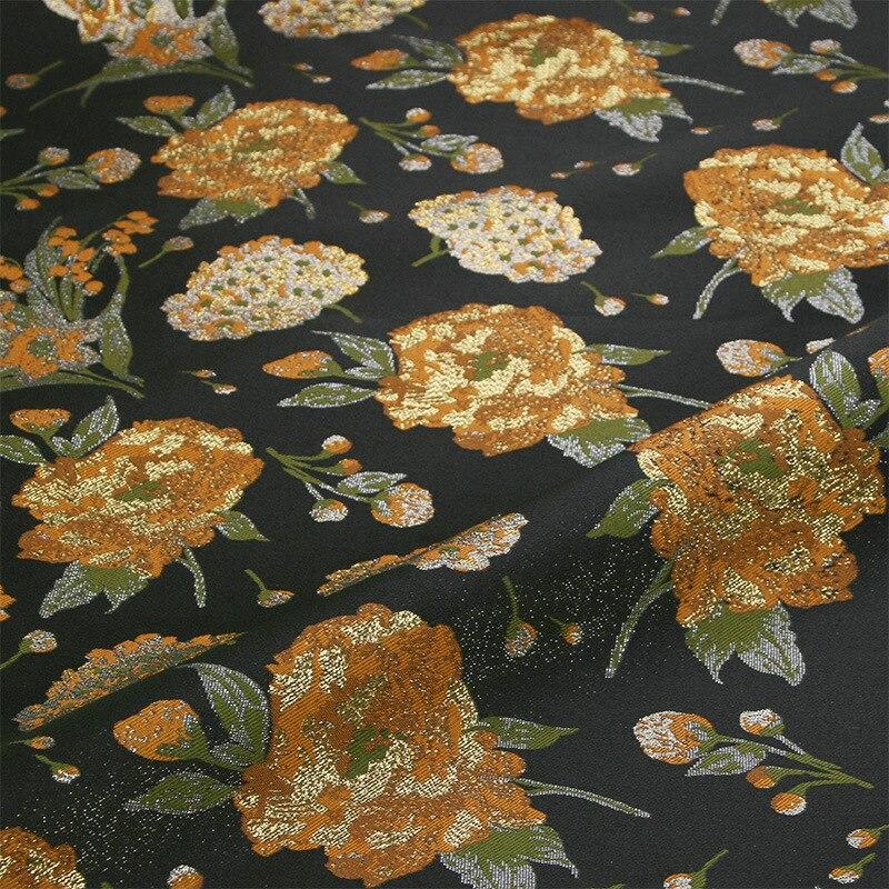 gold metallic brocade jacquard polyester fabric,yellow Hydrangea flower yarn dyed fabric cloth for women dress tissus au metre