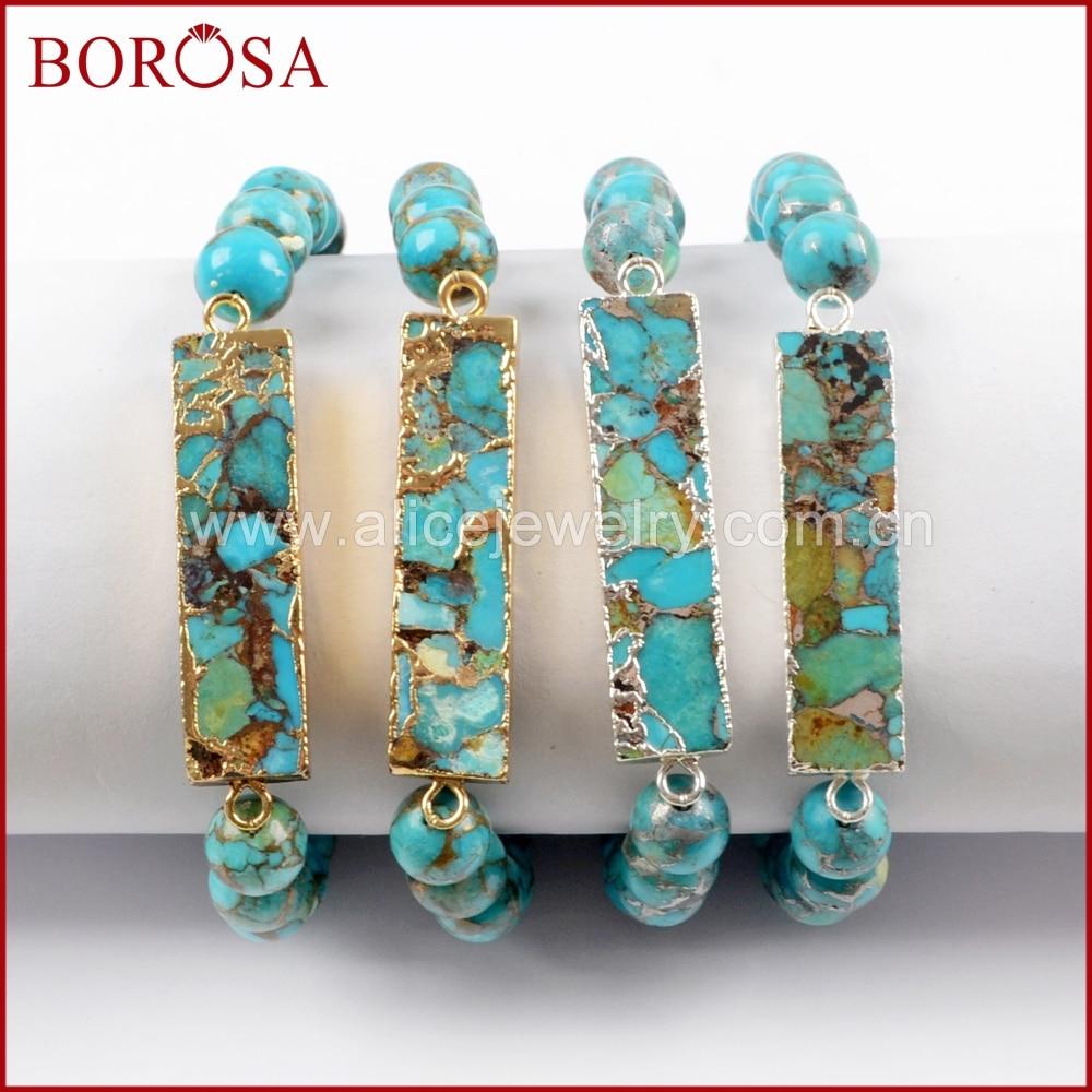BOROSA 4 Uds Color dorado rectángulo cobre turquesa con cuentas de 8mm pulsera joyería, piedra azul Natural mujer brazalete G1651 S1651