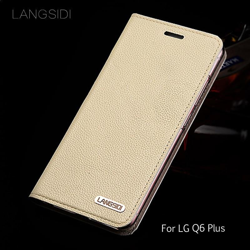 Wangcangli cuero litchi textura para LG Q6 Plus flip teléfono caso hecho a mano personalizado
