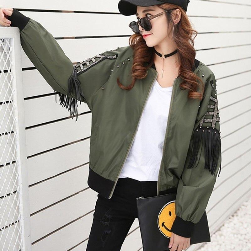 Nueva chaqueta de otoño primavera 2020, chaqueta de calle para Mujer, chaqueta de rock con borlas y remaches, chaqueta Bomber, Chaquetas para Mujer QT05