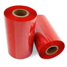 110x300m ruban de transfert thermique de couleur rouge pour imprimante zèbre/Avery, type de ruban de cire utilisation pour étiquette en papier