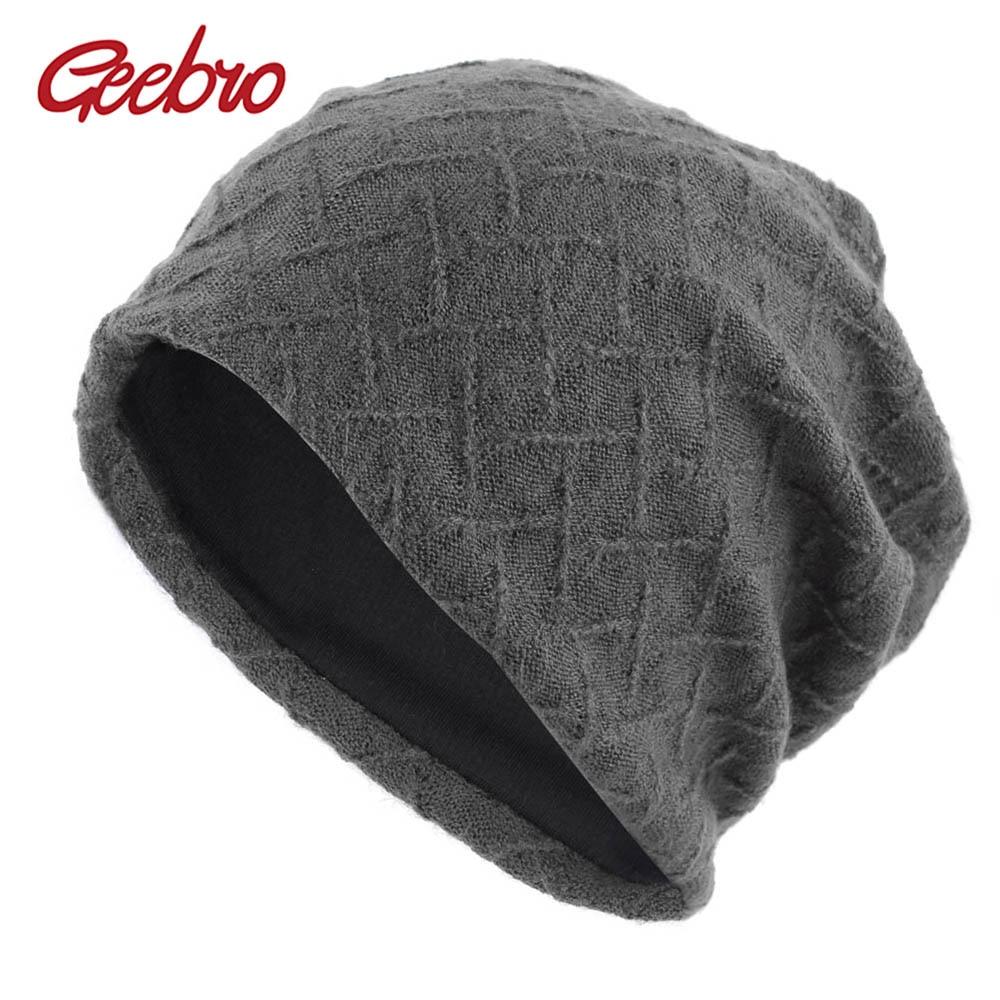 Geebro gorro de inverno feminino 2020 outono nova malha gorro slouchy para feminino xadrez grosso quente skullies chapéu para feminino dq837