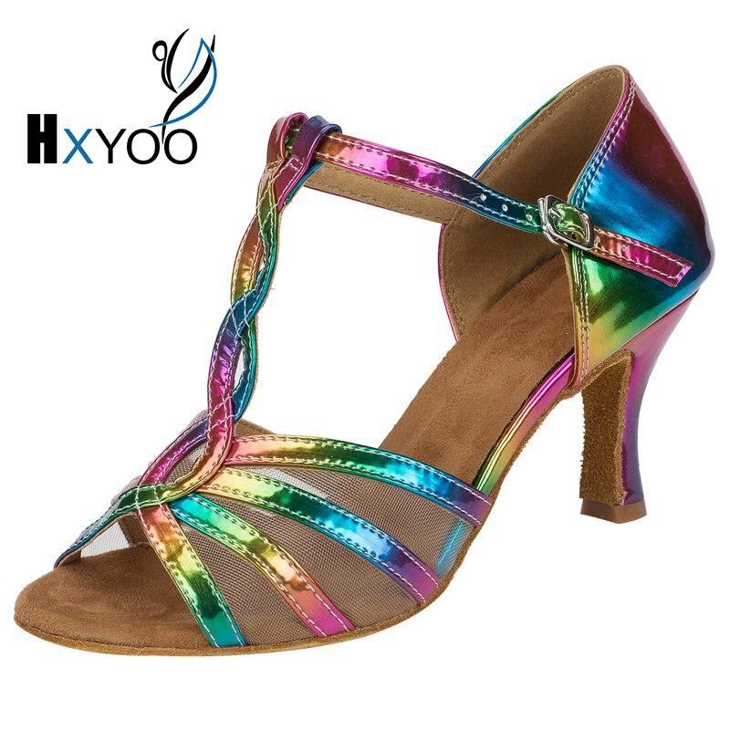 HXYOO/Новое поступление 2018 года; разноцветная обувь для латинских танцев с блестками и радугой; женская танцевальная обувь для сальсы; Обувь д...